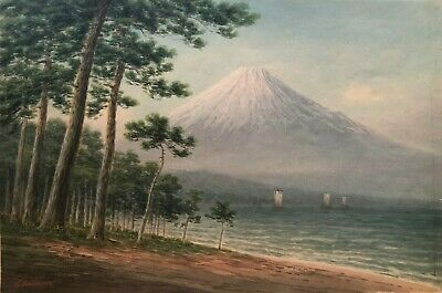 Antique Japanese painting By artist Shumin Early 1900 Mt Fuji boats on the river