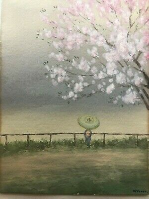 Japanese painting By Kyoma. Early 1900 lady looking over river cherry blossoms