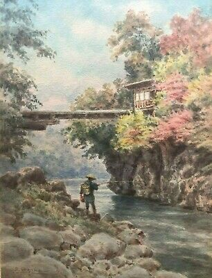 Japanese painting By? . Early 1900 watercolor man fishing of the rocks