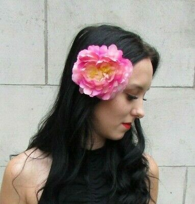 Multi Tonal HOT PINK Peony Rose Flower Hair Clip Fascinator Wedding Floral 7333