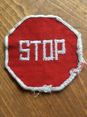 Vtg Stop Sign Patch Sew On Embroidered Patch Traffic Control Street Road