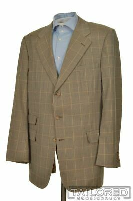 CHESTER BARRIE Beige Blue Houndstooth Check Wool Blazer Sport Coat Jacket - 44 L