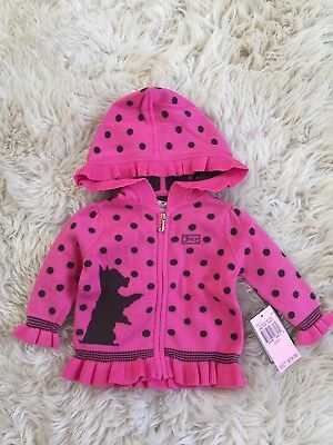 Juicy Couture Baby Girls Highlighter Hooded Ruffle Sweater Cardigan 3-6 Months