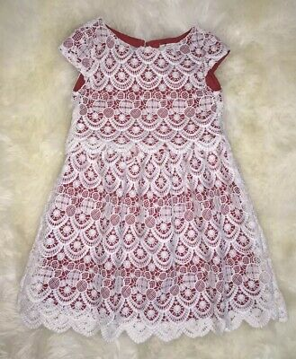 Nwt Zara Girls White Red Guipure Lace Shift Dress Size 7 Years