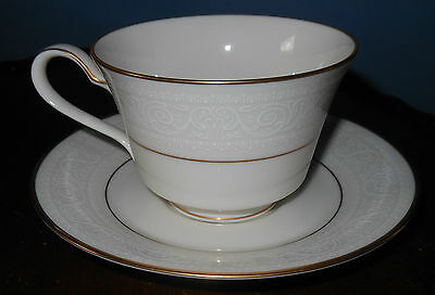 Noritake Tulane Footed CUP AND SAUCER White Design w/ Gold Accents