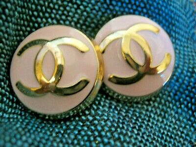 CHANEL 2  pink BUTTONS lot of 2 sz 17mm gold metal  cc logo, two