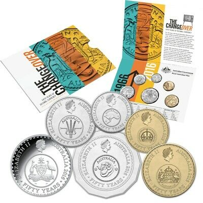 """2016 UNC Changeover Six Coin Mint Year Set """" 50 Years of Decimal Currency """""""
