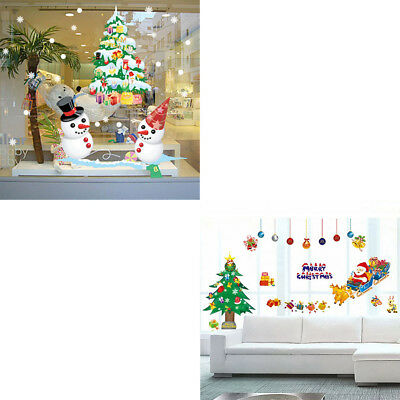 1pc Fashion Christmas Tree Santa Claus Removable Wall Stickers Art Decals Well