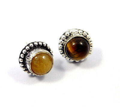 Tiger's Eye .925 Silver Plated Handmade Stud Earring Jewelry JC8220