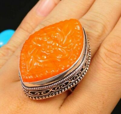 Charming Chalcedony Silver Carving Jewelry Ring Size 8.50 JC1671