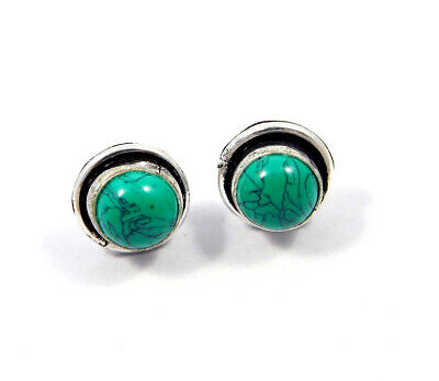 Turquoise .925 Silver Plated Handmade Stud Earring Jewelry JC8084