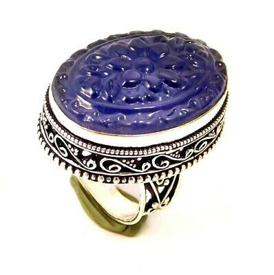 Charming Chalcedony Silver Carving Jewelry Ring Size 8.50 JC1675