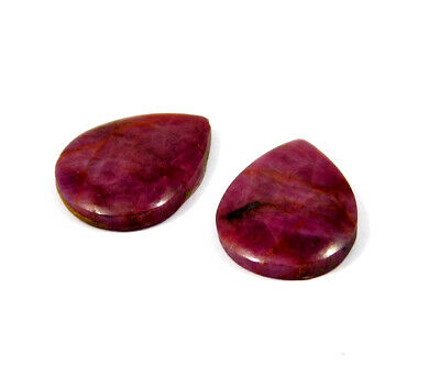 31 Cts. 100% Natural Pair Of Pear Ruby Loose Cabochon Gemstone RRM19146
