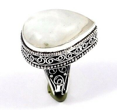 Moon Stone .925 Silver Awesome Carving Ring Jewelry JC7521