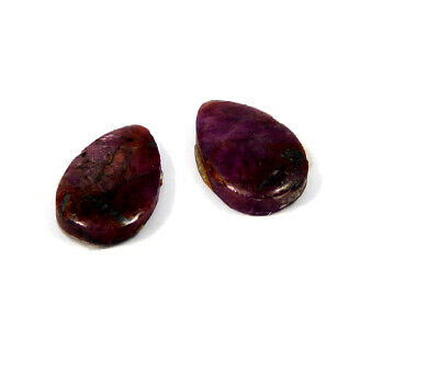 14 Cts. 100% Natural Pair Of Pear Ruby Loose Cabochon Gemstone RRM19181