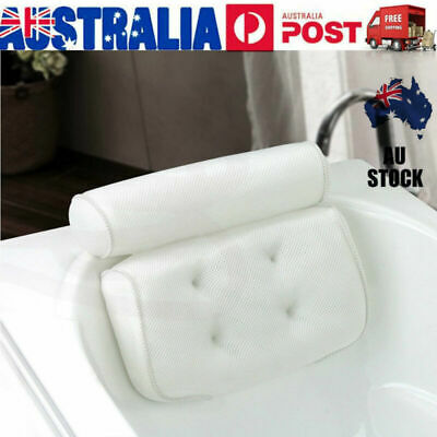 Breathable 3D Mesh Spa Bath Pillow with Suction Cups Neck & Back Support AU STO