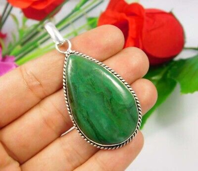 Green Moss Agate .925 Silver Plated Handmade Pendant Jewelry JC3698