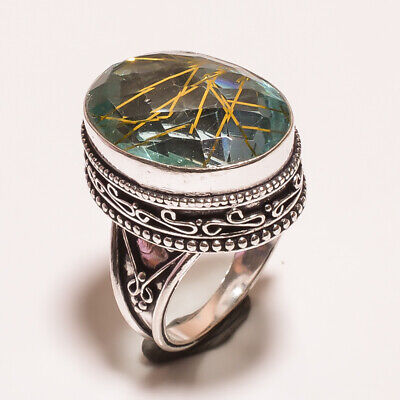 Golden Needle Rutile .925 Silver Plated Carving Ring Size-6.75 Jewelry JA613