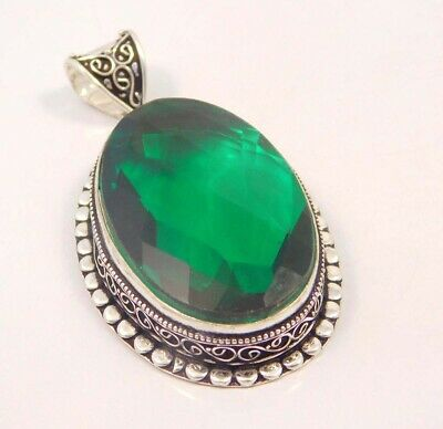 Emerald Quartz .925 Silver Plated Carving Pendant Jewelry JC6679