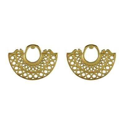 ACROSS THE PUDDLE 24k GP Pre-Columbian Embossed Nose Ring Stud Earrings