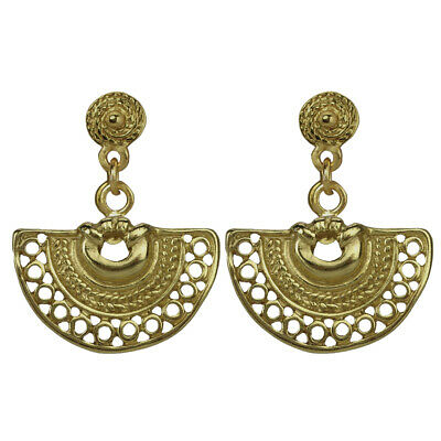 ACROSS THE PUDDLE 24k GP Pre-Columbian Decorated Nose Ring Dangle Earrings