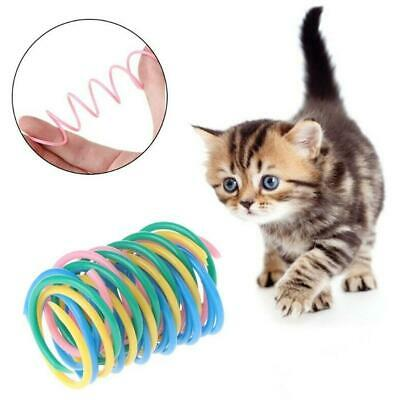 5PCS Cat Toys Colorful Spring Bounce Plastic Pet Interactive Toys Candom color
