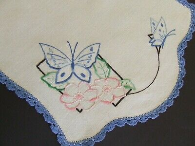 Stunning Hand Embroidered Vintage Centre - Blue Butterflies - Crocheted Edging