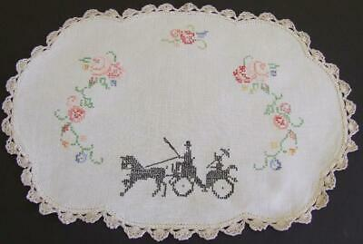 Hand Embroidered Vintage Centre - Lady in Horse Drawn Carriage - Crocheted Edge