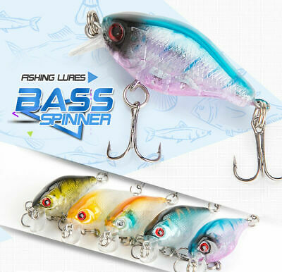 5pcs Fishing Lures Crankbaits Treble Fishing Hooks Baits Tackle Bass 3D Minnow