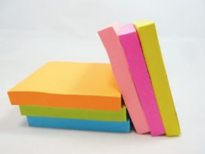 100 Sheets Post-It Notes 75mm Sticky Pop Up Office Tabs Square Pad Bulk Pack New