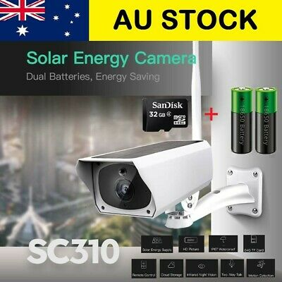 Solar IP Security Camera WiFi Wireless 1080P Outdoor PIR Motion Sensor IP67 AU