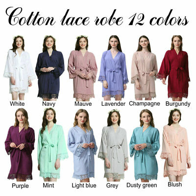 Cotton bridesmaid Robes With Lace Trim Women Wedding Bridal Robe lace Nightwear