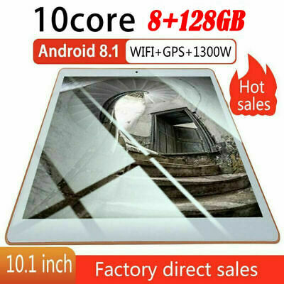 10.1 inch Tablet Android 8.1 Bluetooth PC 8G + 128G 2 SIM GPS Tablet PC
