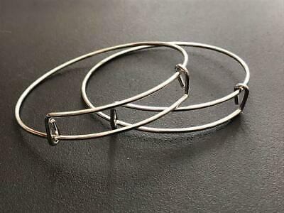 2pcs Expanding wire bangle blanks bracelet making silver plated 65mm one size