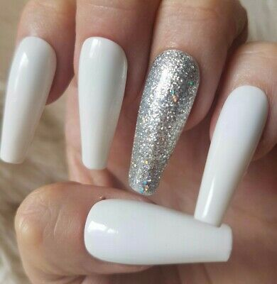 20 Hand Painted False Nails. White Glitter Accent Nail. Pick Shape & Length.