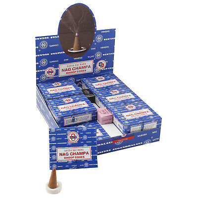 12 x Genuine Original Satya Incense Sai Baba Nag Champa Dhoop Cones - Full Box