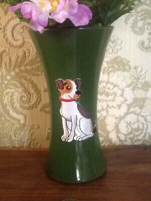 Artificial Flowers In Green Vase Decorated With A Jack Russell