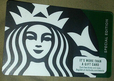 Starbucks 2016 Special Edition Green/Black Siren Gift Card rechargeable !