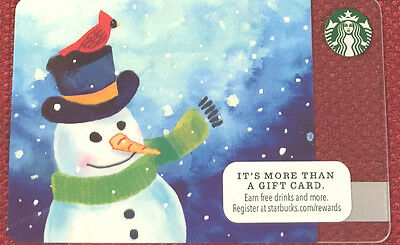 New Starbucks Christmas Holiday 2016 Snowman Gift Card Rechargeable Bilingual !