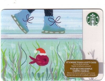 New Starbucks 2016 Skate Holiday Gift Card Rechargeable Bilingual ! Nice!