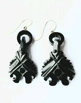 Antique Victorian Whitby Jet Carved Earrings