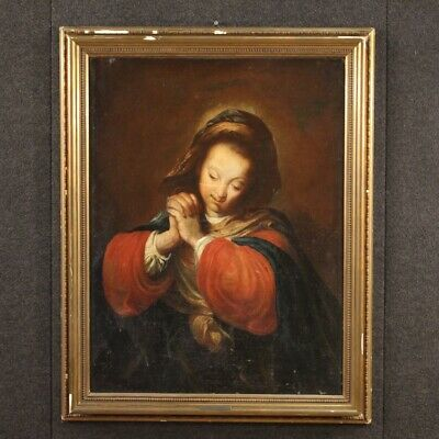 Antique Painting Religious Painting Madonna Oil on Canvas XVIII Century Art Holy