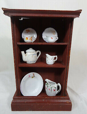 Antique / Primitive Wooden Doll Cupboard w/ Assorted Dishes