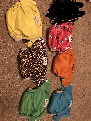 Little Bee Co Pocket All In One Cloth Diapers Lot Of 6 Charcoal