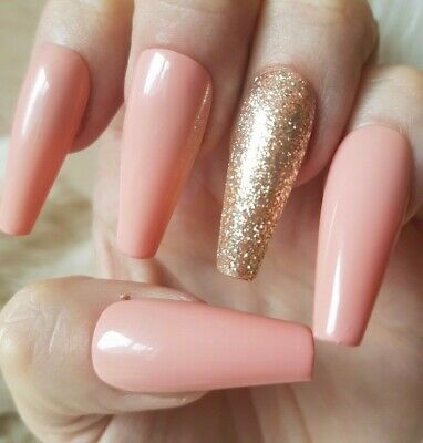 20 Hand Painted False Nails. Nude Glitter Accent Nail. Pick Shape & Length.