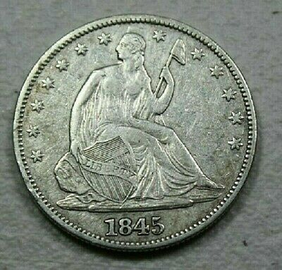 1845 LIBERTY SEATED HALF DOLLAR low mintage CHOICE VF/XF