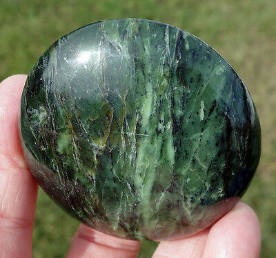 Large Deep Green JADE Crystal Healing Disc or Massage Stone Polished Nephrite