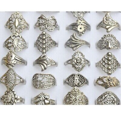 20Pcs Wholesale Ring Jewelry Mixed Silver Tone Rings Vintaged Band Jewelry Lot