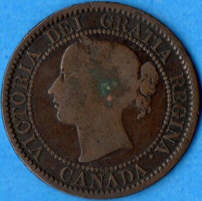 Canada 1859 Narrow 9 1 Cent One Large Cent Coin - Corrosion Scratches