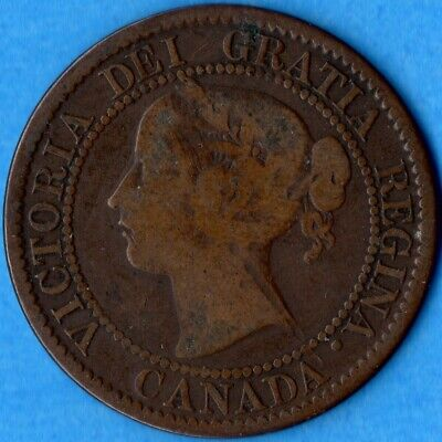 Canada 1859 Narrow 9 1 Cent One Large Cent Coin - VG